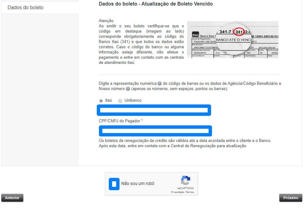 Atualização de Boleto Vencido Itaú