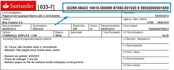 Santander boleto
