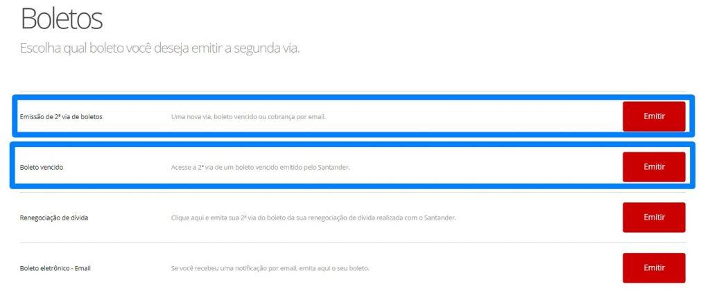 Atualizar boleto Santander 2º via